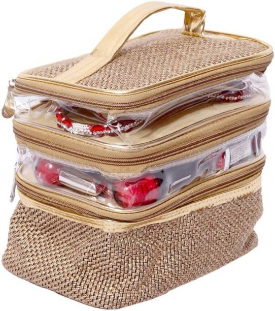 c009d72d96 Kuber Industries Make Up Kit, Cosmetic Box, Jewellery Case (Jute Design)  Jewellery
