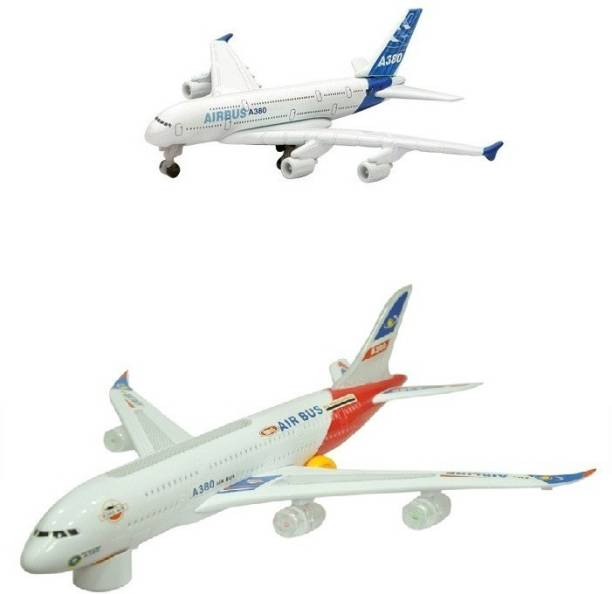 Shop & Shoppee Combo of Battery Operated Airbus Plane(Big,Small)