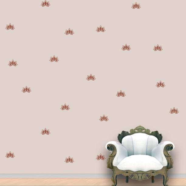 Wall Design Lotus Wall Pattern Brown Stickers Set of 60