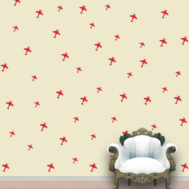 Wall Design Aeroplanes Wall Pattern Red Tomato Stickers Set of 52