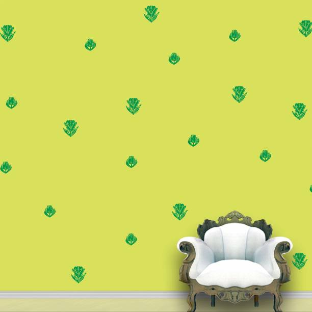Wall Design Roses Wall Pattern Green Stickers Set of 112