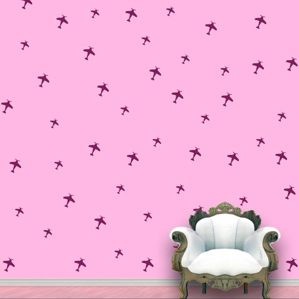 Wall Design Aeroplanes Wall Pattern Violet Stickers Set of 52