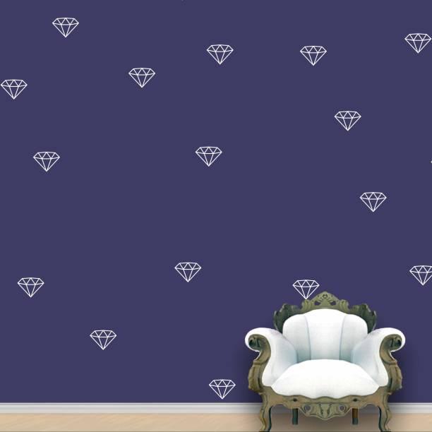 Wall Design Diamond Wall Pattern White Stickers Set of 55