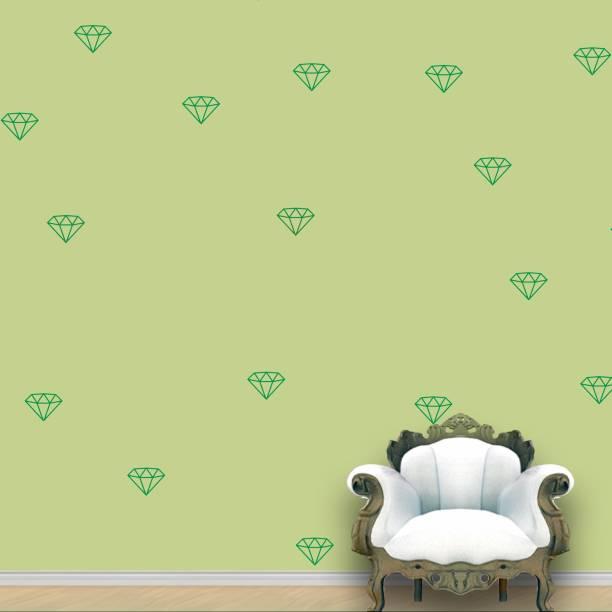 Wall Design Diamond Wall Pattern Green Stickers Set of 55
