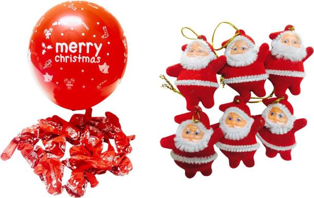priyankish 20 red merry christmas balloons 6 red santa combo hanging ornaments pack of 26