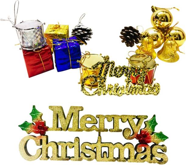 Priyankish 12 in 1 Small Gift Box & 1 Golden Merry Christmas Board Hanging Ornaments Pack of 13