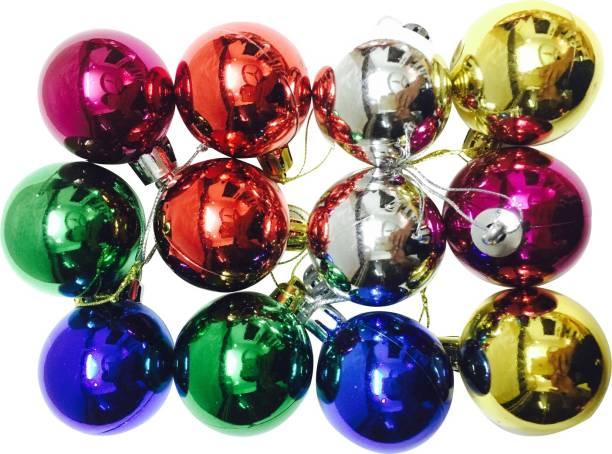 Priyankish Christmas Tree Multicolored Ball Hanging Ornaments Pack of 12