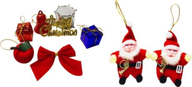 Priyankish Christmas Tree 6 in 1 Small Gift Box & 2 Red Santa Party Mood Hanging