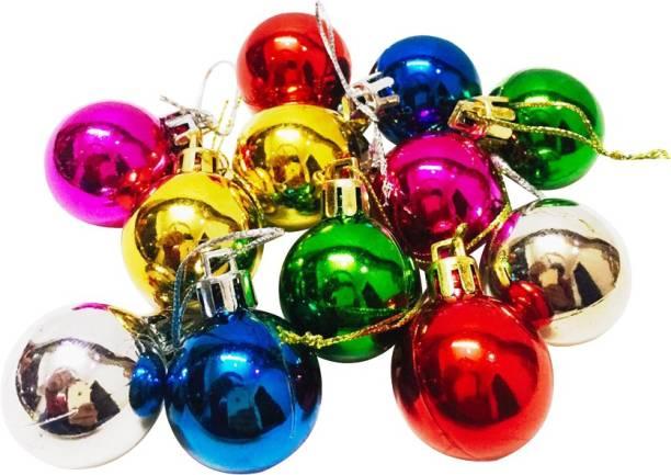 Priyankish Christmas Tree 12 Shining Multicolour Balls Hanging Ornaments Pack of 12