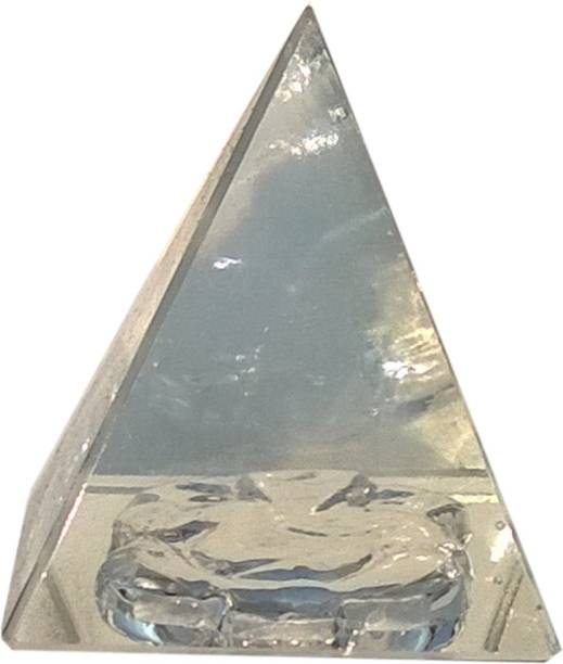 Mann Retails Crystal pyramid for positive energy and vastu correction with ganesha symbol Glass Yantra