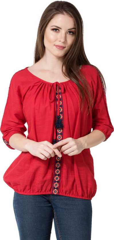 AANIACasual 3/4 Sleeve Embroidered Women Red Top