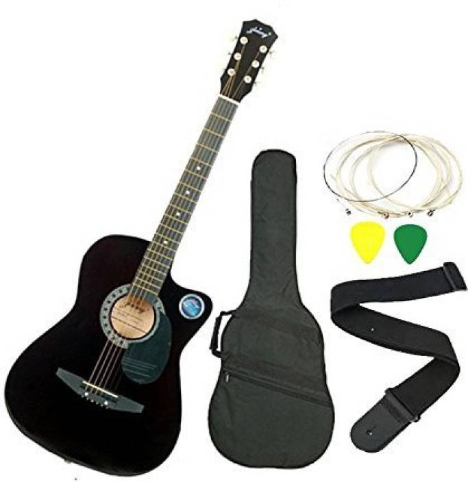 Jixing DD-380C-BLK Linden Wood Acoustic Guitar