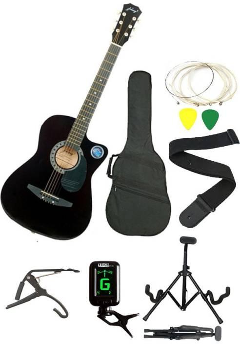 Jixing JXNG-BLK-SC Linden Wood Acoustic Guitar