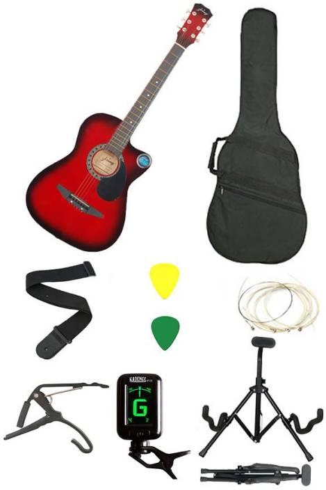 Jixing JXNG-RED-SC Linden Wood Acoustic Guitar