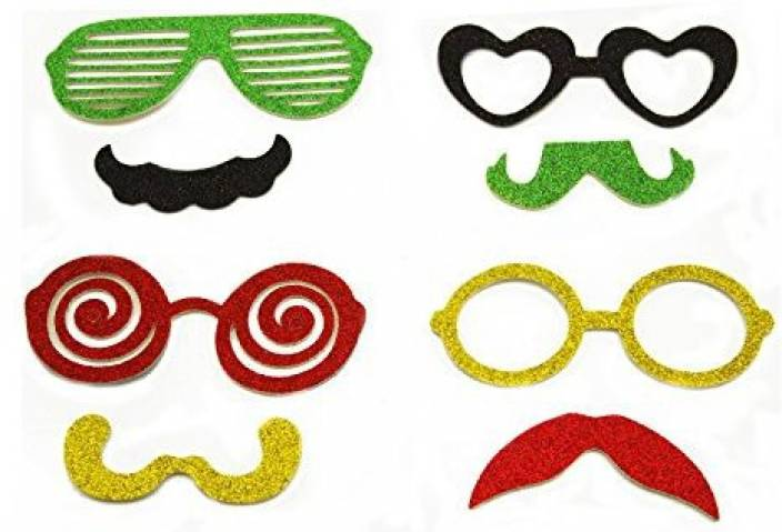 47a9bd4518 Adorox Glitter Mustache Vintage Glasses Photo Booth Props On A Stick Party  Favor Halloween Wedding Birthday Kit - Glitter Mustache Vintage Glasses  Photo ...