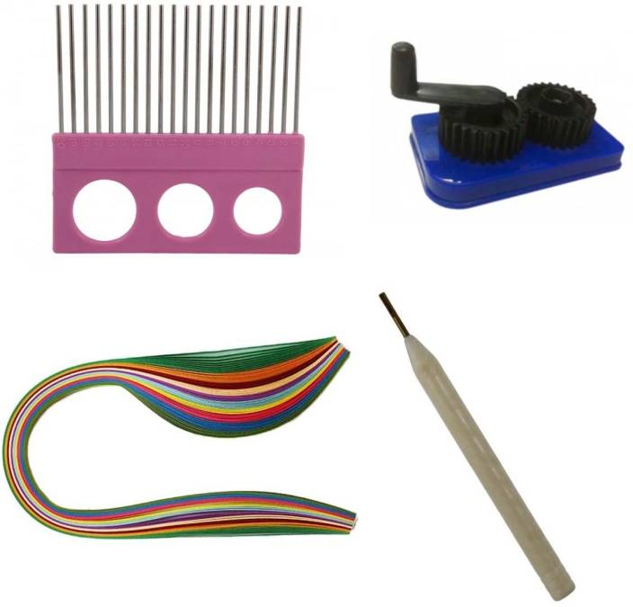 tootpado 400 metallic quilling paper strips 3 5 7 10 mm comb crimping tool needle 400. Black Bedroom Furniture Sets. Home Design Ideas