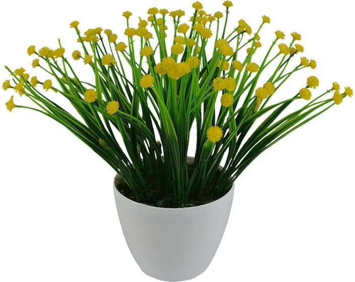 Fancymart FP-0322-954 Yellow Wild Flower Artificial Flower  with Pot