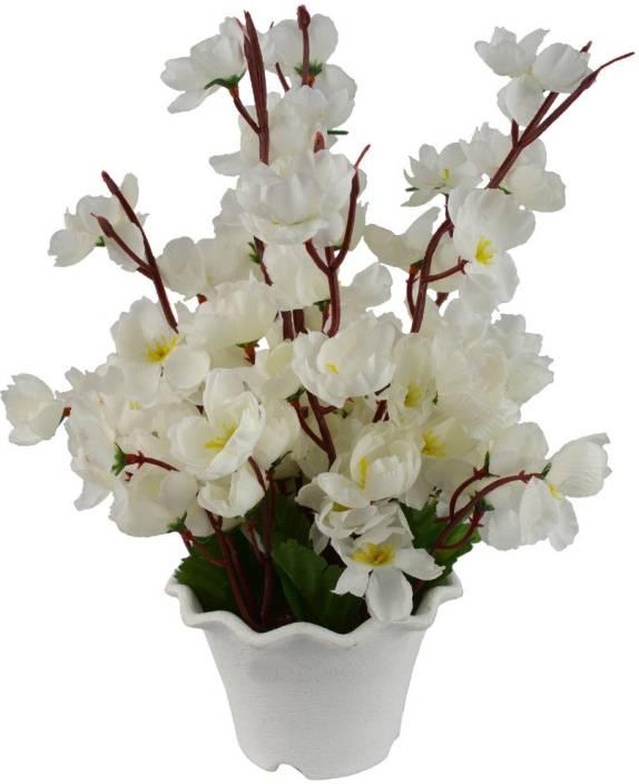 Fancymart FP-0090-866 White Wild Flower Artificial Flower  with Pot