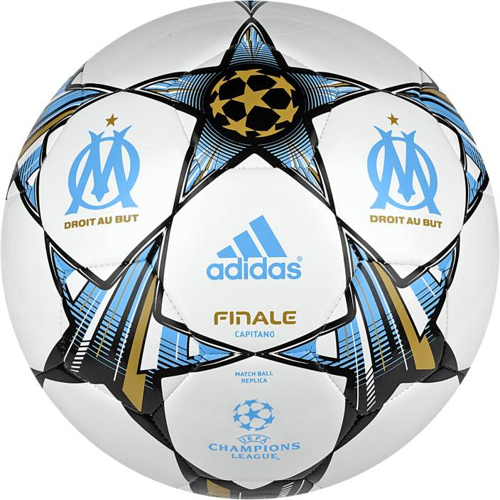 low priced f8541 422e7 ADIDAS Olympique de Marseille UEFA Champions League Football - Size 5 (Pack  of 1, Blue, White, Gold)