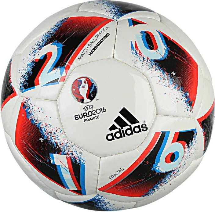 low priced d8775 4d56e ADIDAS EURO16 HRDGRND Football - Size 5 (Pack of 1, White, Blue, Red,  Silver)