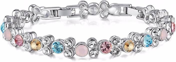 Nevi Brass Swarovski Crystal Rhodium Bracelet