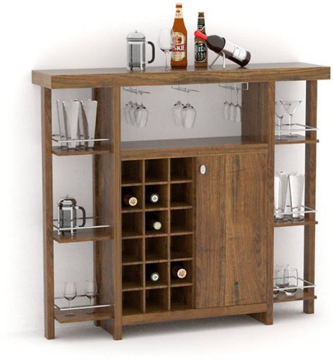 Tezerac Solid Wood Bar Cabinet