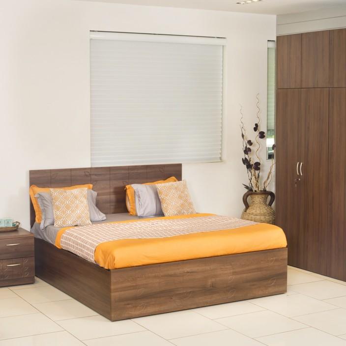 Godrej Interio Engineered Wood Bed + Side Table + Wardrobe (Finish Color    Cincinnati Walnut)