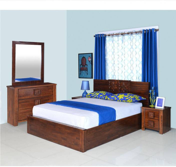 Bedroom Furniture Designs Pictures In India Grey Bedroom Colour Combination Bedroom Design With Tiles Bedroom Interior For Boys: @home By Nilkamal Solid Wood Bed + Side Table + Dressing