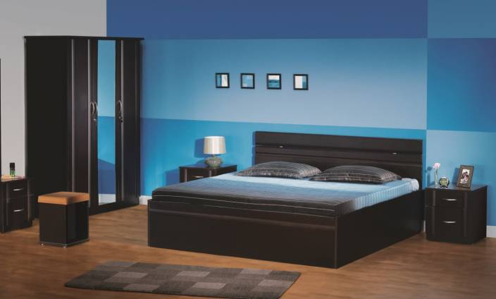 Godrej Interio Engineered Wood Bed + Side Table + Dressing Table ...
