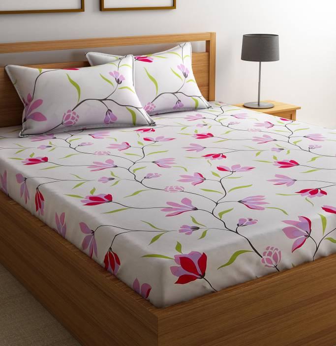 Flipkart SmartBuy 144 TC Cotton Double Floral Bedsheet
