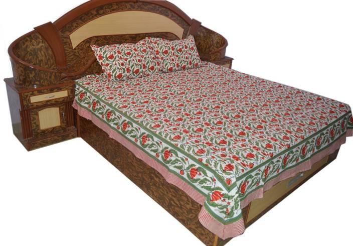 Raaga Textiles Cotton Double King Floral Bedsheet
