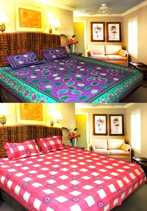 Christy's Collection 200 TC Cotton Double Checkered Bedsheet