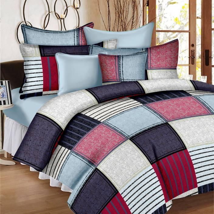 Ahmedabad Cotton Cotton Geometric Double Bedsheet