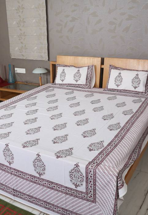 Rajrang Cotton Motifs Double Bedsheet