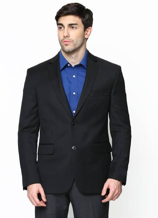 Protext Solid Single Breasted Casual, Formal, Party, Wedding Men's Blazer  (Black)
