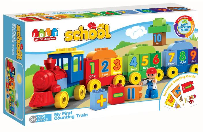 65a4fd3561b Saffire JDLT My First Counting Train Building Blocks-45 Pieces (Multicolor)