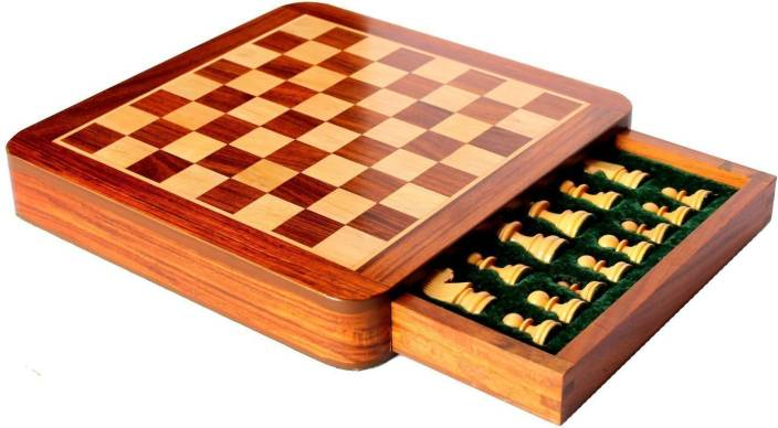 Craftgasmic Square Wooden Chess and Magnetic Pieces Set with Storage Drawer  (5x5 Inch) Board Game