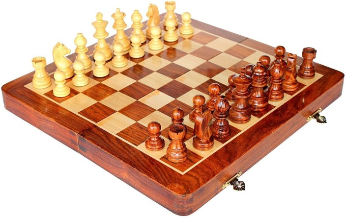 Craftgasmic Folding Magnetic Travel Chess Board Set Wooden Game Handmade,  Classic Game Of Brilliance,