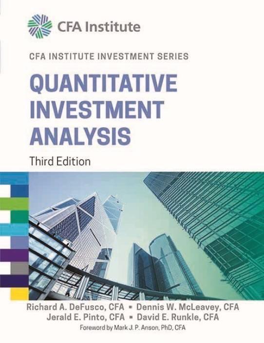 Quantitative Investment Analysis Ed  Buy Quantitative