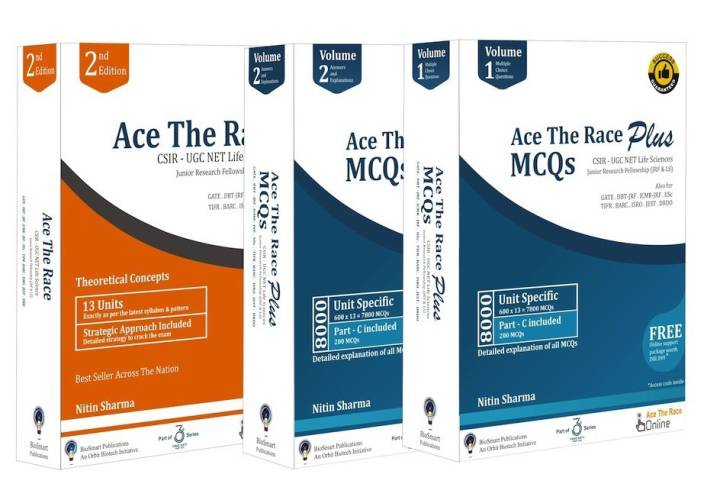 Ace The Race - Combo 2 (Set of 2 Books: Ace The Race & Ace The Race Plus Vol 1 & Vol 2) : CSIR-UGC NET Life Sciences (JRF & LS)