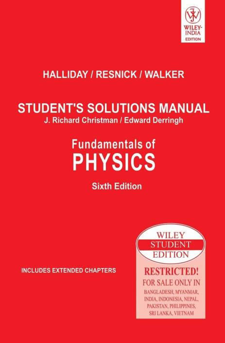Fundamentals Of Physics Students Solutions Manual 6th Edition English Paperback Halliday Resnick Walker