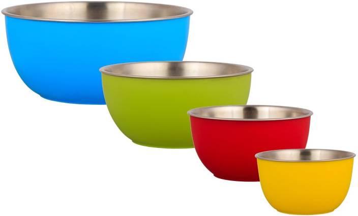 Lavi Cook Serve Microwave Safe Stainless Steel Plastic Bowl Set