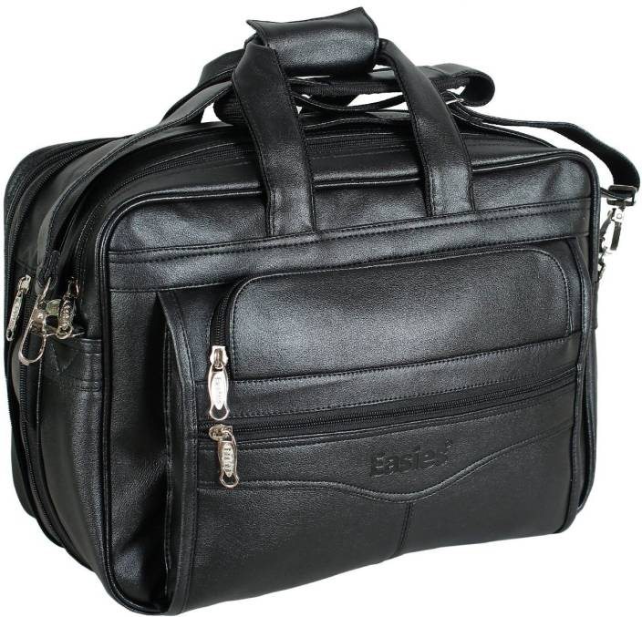 7a44fa843fdb Easies Synthetic Leather Full Expandable 16 Inches Executive Black Color Office  Bag Large Briefcase - For Men (Black)