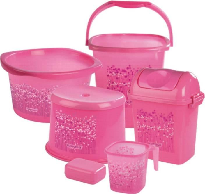 Nayasa Pink Bathroom Set - 6 Pieces 25 L Plastic Bucket