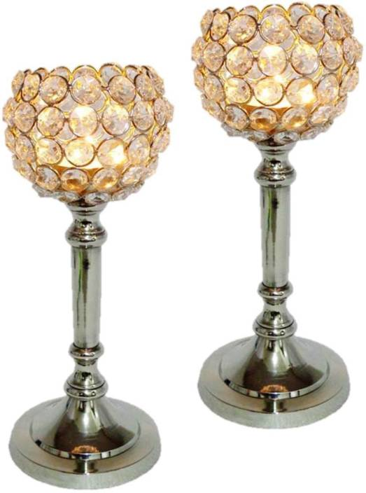 Being Nawab Stunning Elongated Spheres Crystal, Aluminium 2 - Cup Tealight Holder Set
