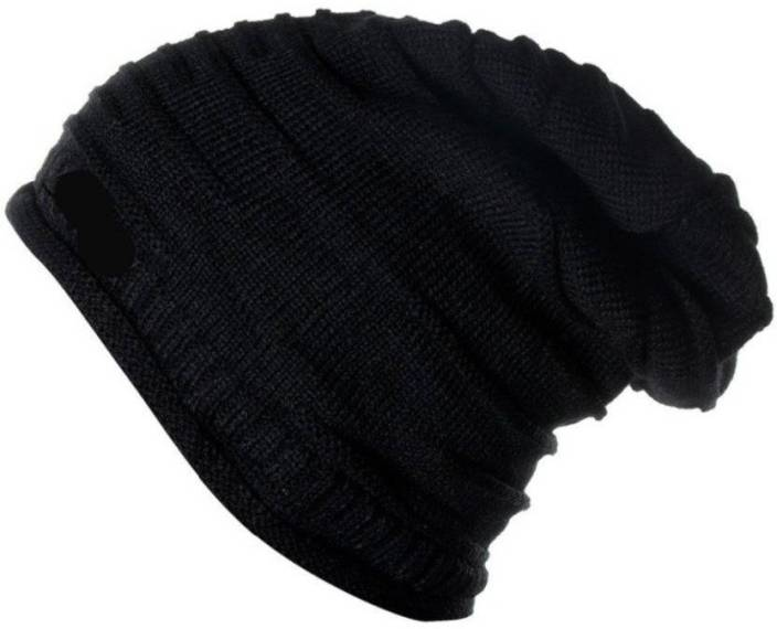 Atabz Woolen Skull Long Beanie Cap - Buy Black Atabz Woolen Skull Long Beanie  Cap Online at Best Prices in India  45411e734a0