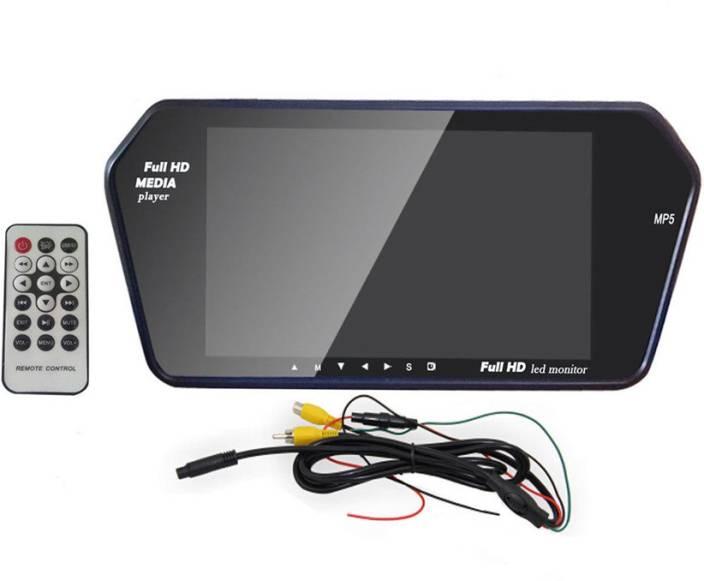 Auto Stuff 7 inch HD Rear View Mirror Screen, Bluetooth, USB, SD Card Black  LED