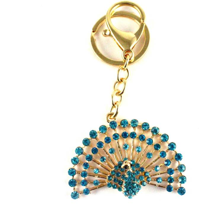 Target retail PEACOCK WITH TURQUOISE CRYSTAL DIAMOND KEYRING