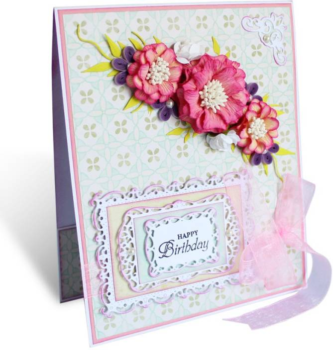 Kraftnation Handmade Paper Blue Pink Birthday Greeting Card Pack Of 1