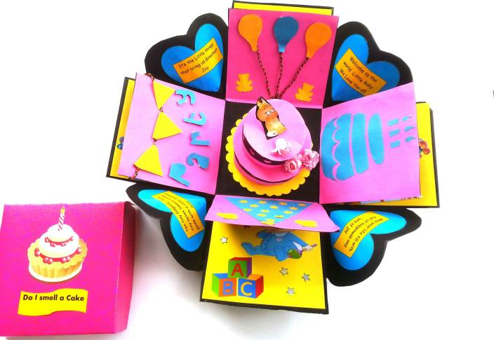 RMantra Birthday Congratulatory Surprise Explosion Box Greeting Card Pink Pack Of 1